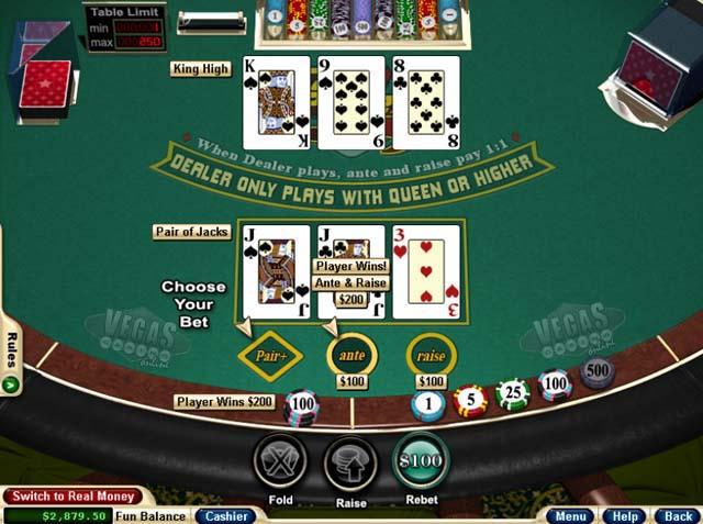 Free online blackjack 3 card poker